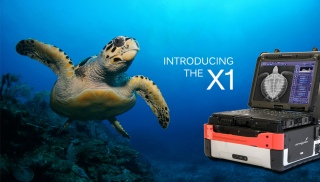 photo of sea turtle underwater and vetrocket x1 with turtle x-ray