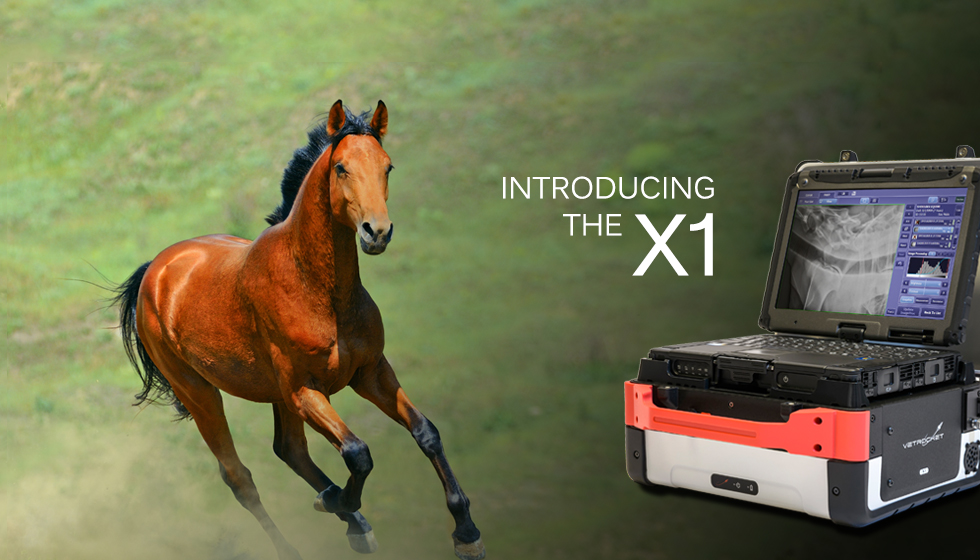 picture of running horse and the VetRocket X1 with horse x-ray